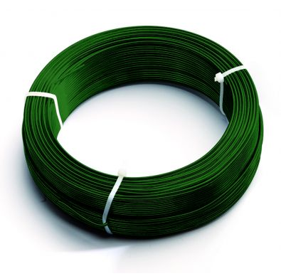 Rollo de alambre de tensión en verde para cerramientos con mallas metálicas