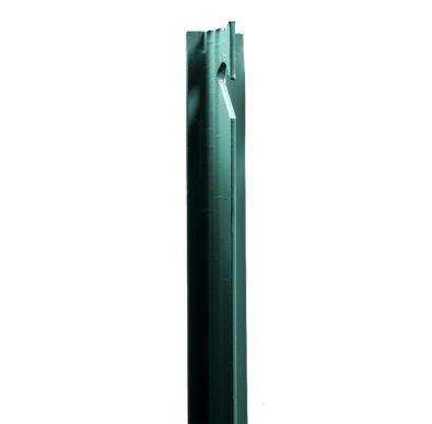 Detalle del poste T verde para cerramientos de mallas metálicas