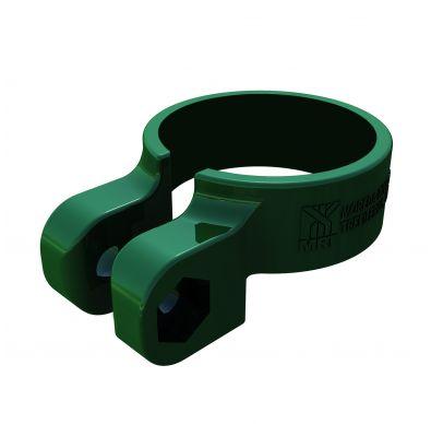 Imagen de la abrazadera de plástico Quickfix verde para postes metálicos
